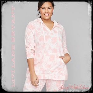 LIVI LANE BRYANT Pink Tie-dye French Terry Hoodie